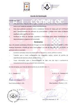 Fig. 38 - Acordo de geminação com a loja Camelot de Portugal. Fonte: Arquivo da GLUSC.