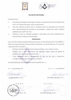 Fig. 49 - Acordo de geminação com a loja Portus Graalae de Portugal. Fonte: GLUSC