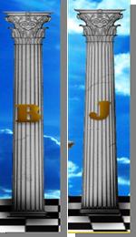 """Fig. 55 - Detalhe das Colunas """"B"""" e """"J"""". Fonte: Estandarte da Loja Luz de Gaia"""