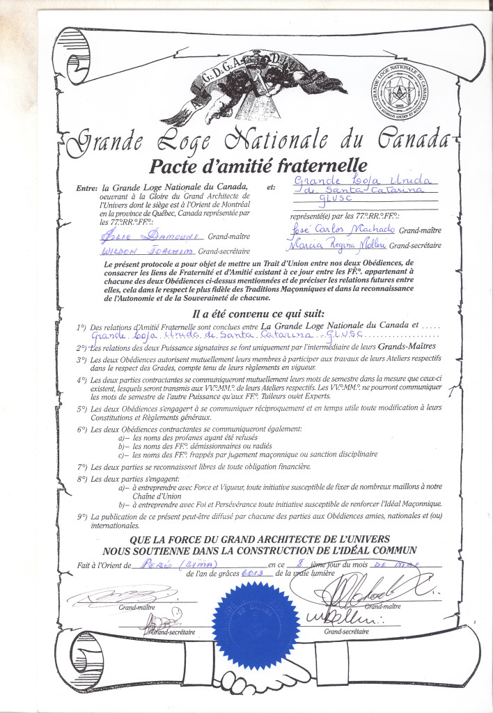 Grande Loje Nationale du Canada, do Oriente de Montreal - Província de Quebec - Canadá