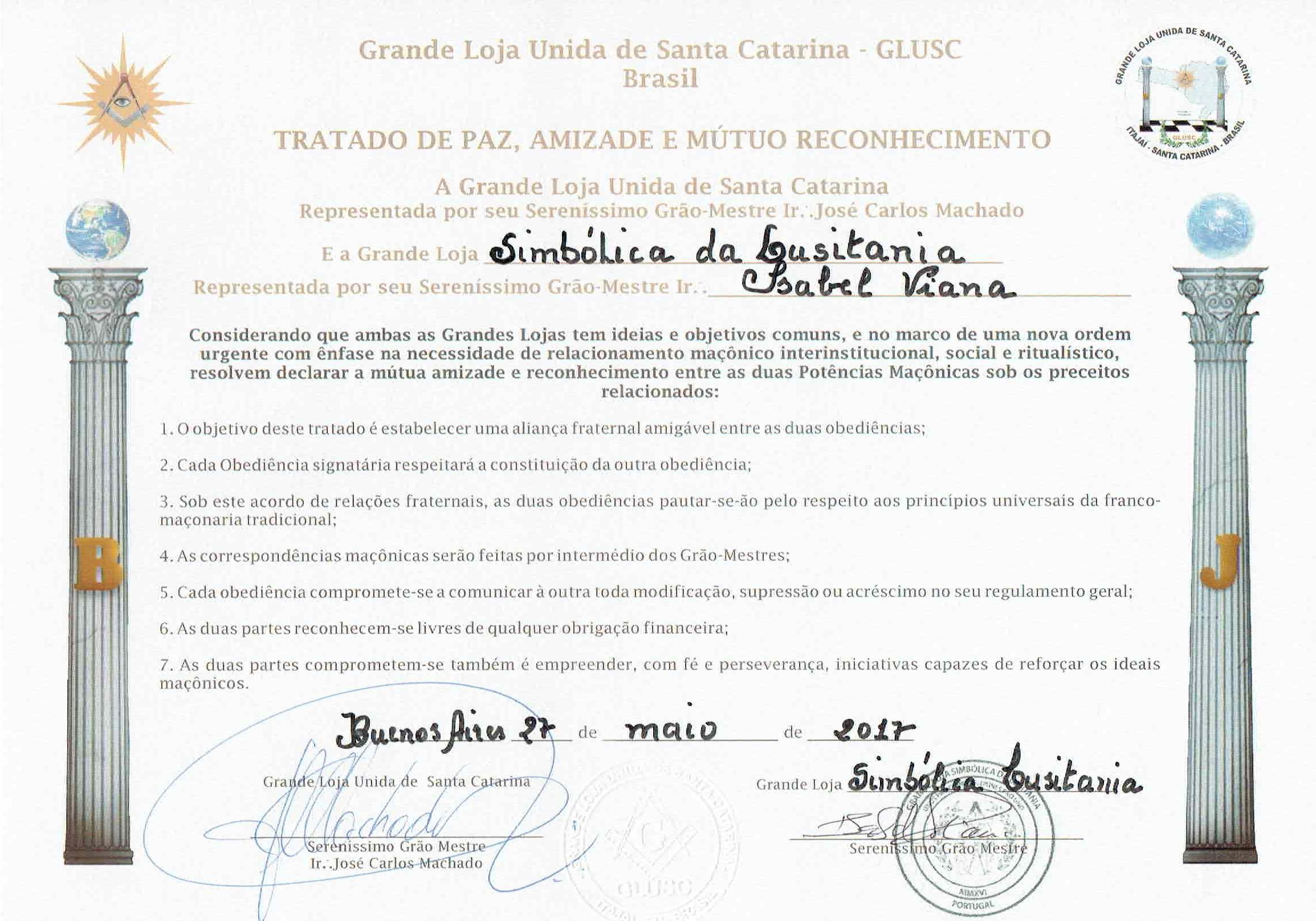 Tratado Grande Loja Simbólica da Lusitânia